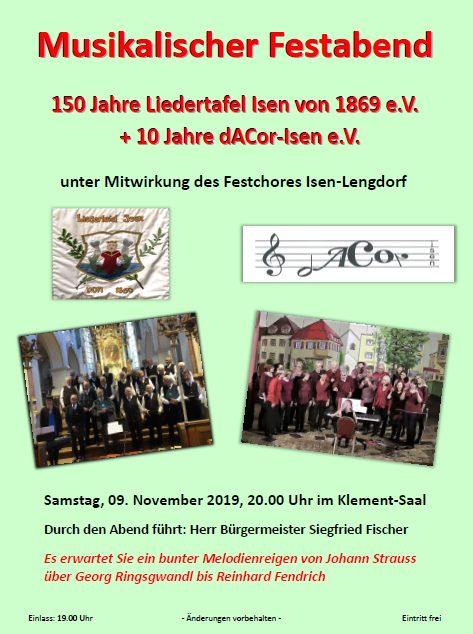 9.11.2019 - 150 Jahr Feier der Liedertafel Isen